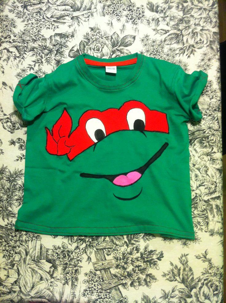 Camiseta tortuga ninja. T-shirt pintada a mano!!!!!
