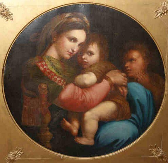 """""""La Madonna della Seggiola"""" Quadro a oleo da escola Italiana do sec.19th, after Raphael, 74cm X 74cm, 7,295 reais / 2,430 euros / 3,220 usd https://www.facebook.com/SoulCariocaAntiques"""