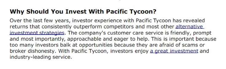 Pacific Tycoon has helped investors invest in their own fleet of shipping containers and immediately lease them to container shipping companies who need them.