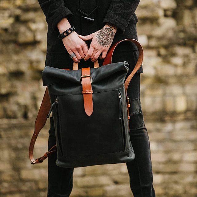 Men/'s leather backpack by Kruk Garage Men/'s backpack Saddle leather backpack Women/'s bag Laptop Backpack Roll top Backpack PERSONILIZED GIFT