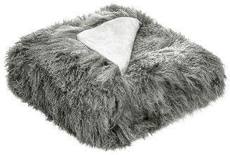 Grey Tibetan Fur Throw