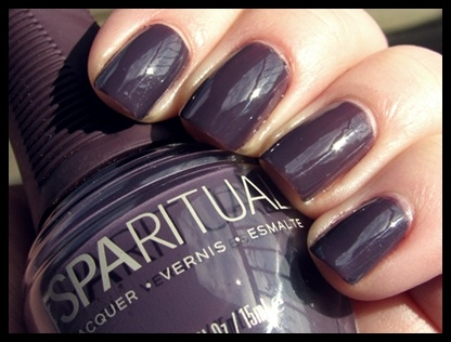 SpaRitual vegan nail polish. They used this polish at the spa in Vail and I really liked it.  It's especially good for me since I have a little one who likes to chew on fingers