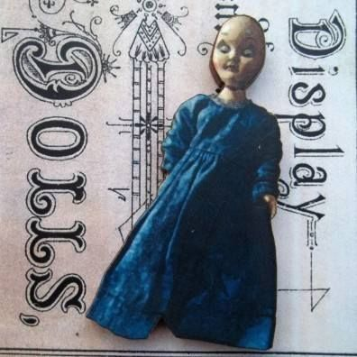 Psyche - Wooden Doll Pin Brooch