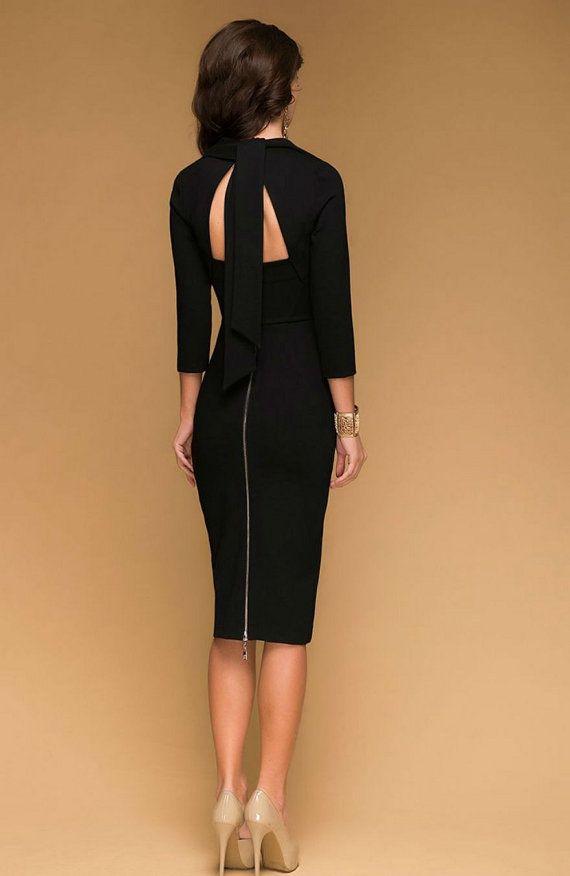 Elegant Party Black Dress JerseyWith Bow Long von FashionDress8