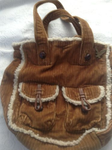 "$14.95  AMERICAN EAGLE OUTFITTERS WESTERN CORDUROY Sherpa Handbag tote 11"" X 11"" x 4'"