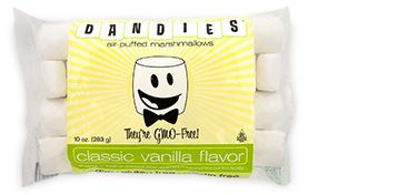 Dandies Vegan Mini Marshmallows. Corn syrup free but contain soy. My kids love these. Closest to the real thing there is. We use these or make homemade. I get these at Woodman's, or the health food store or Whole Foods. Can probably order online too on Amazon. Kids can only have one or two at a time. May have to hide these.