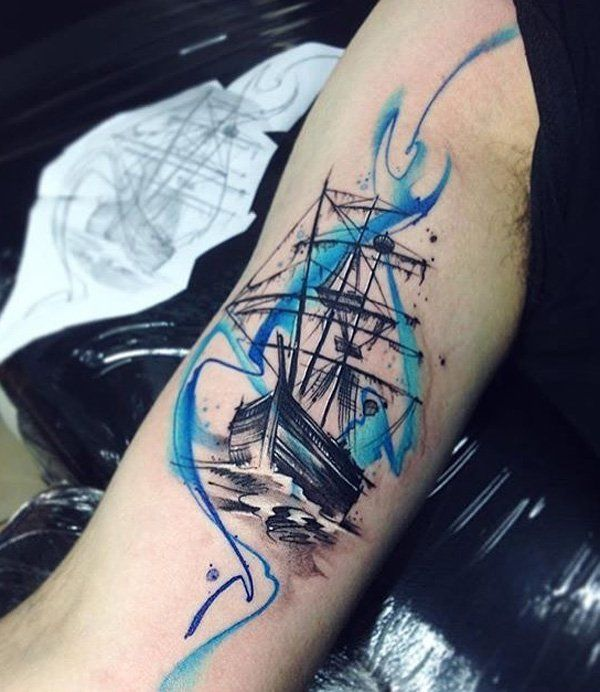 Boat sleeve tattoo - 100 Boat Tattoo Designs  <3 <3