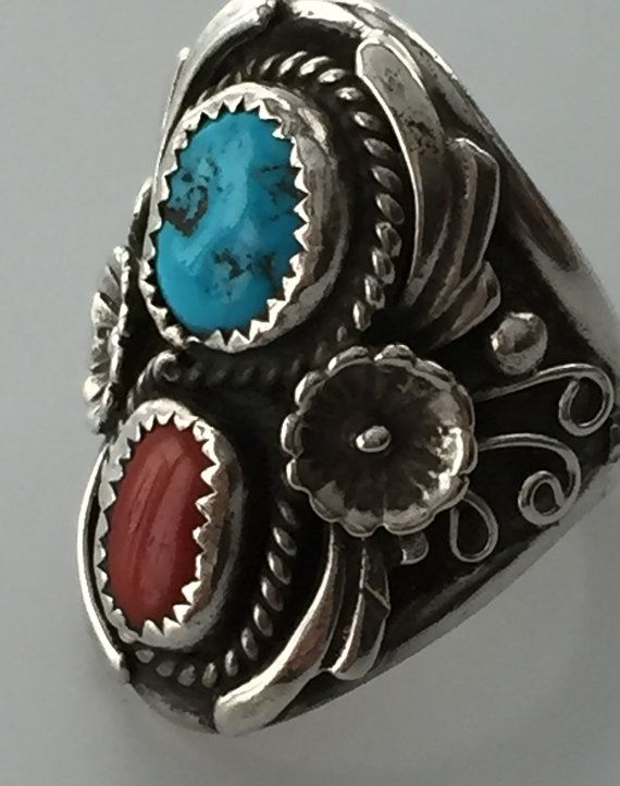 Vintage Native American STERLING CORAL by thepopularjewelry