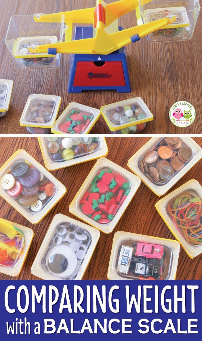 Use this fun activity featuring measurement for kids in your math or STEM learning center. Kids weigh containers of everyday objects in a bucket balance scale. They learn the concepts of heavy and light and also learn to sort the objects by weight. Perfect for preschool, pre-k and kindergarten. This hands-on learning center can be used for any theme....just use thematic materials in the containers. preschool STEM, Pre-k STEAM