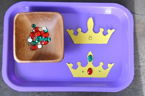 Preschool Castle Theme: Crown Jewel Math/Counting Tray