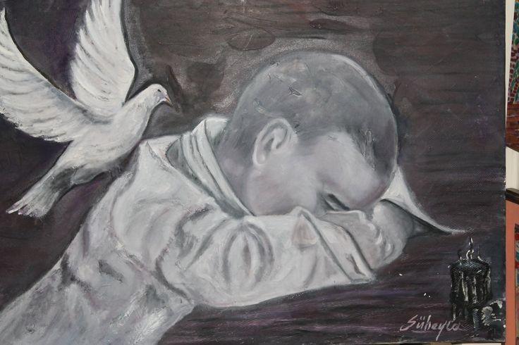 Güvercinli çocuk 70x100 Yağlı boya Fiyatı : 850 İletişim 539-887-90-93