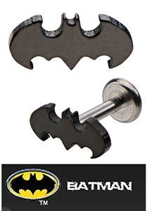 Officially Licensed Dc Comics Batman Bat man Shape Internally Threaded Labret Monroe lip tragus piercing bar body jewelry cartilage ring Surgical Steel 14 gauge 14g playful piercings http://www.amazon.com/dp/B00EIRA3U8/ref=cm_sw_r_pi_dp_EYllub19KC82T