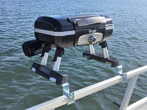 Cuisinart Pontoon Boat Grill    Enjoy this quality Cuisinart Pontoon Grill – Cuisinart Grill With Arnall's Brackets with pre-installed brackets perfect for your pontoon boat railing.