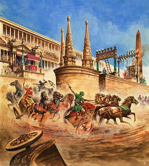Chariot Racing at the Circus Maximus (Original) art by Peter Jackson Archive