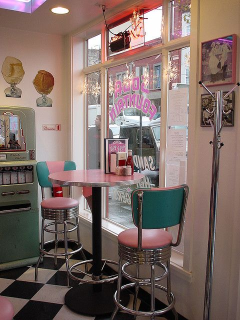 Soda fountain.  Vintage, American, dinner. I think it would be so fun to have one of these (soda fountain/diners) in town.