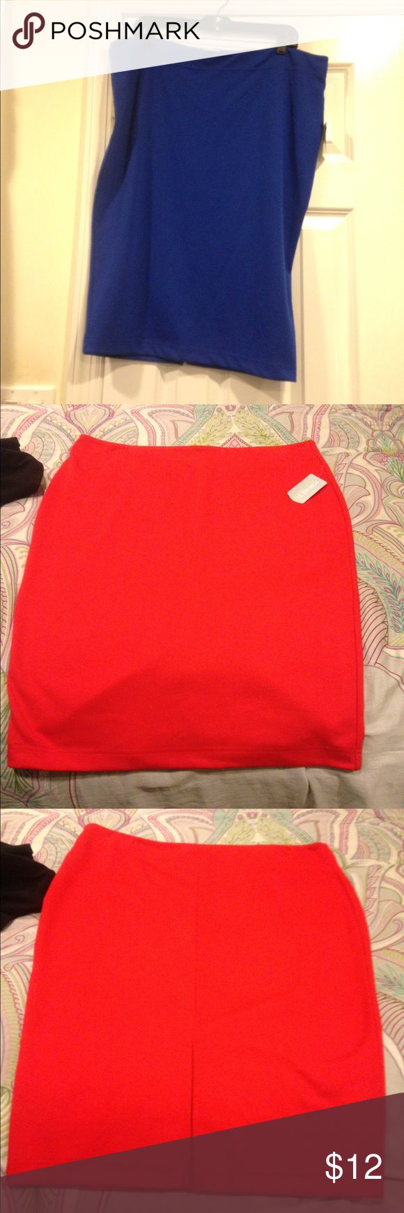 Bundle deal: red and royal blue pencil skirt Royal blue pencil skirt with a slit in the back. Red pencil skirt with a slit in the back. Forever 21 Skirts Pencil