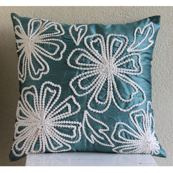 Snowy Blooms - Throw Pillow Covers - 16x16 Inches Silk Pillow Cover with Lace Embroidery. $26.00, via Etsy.