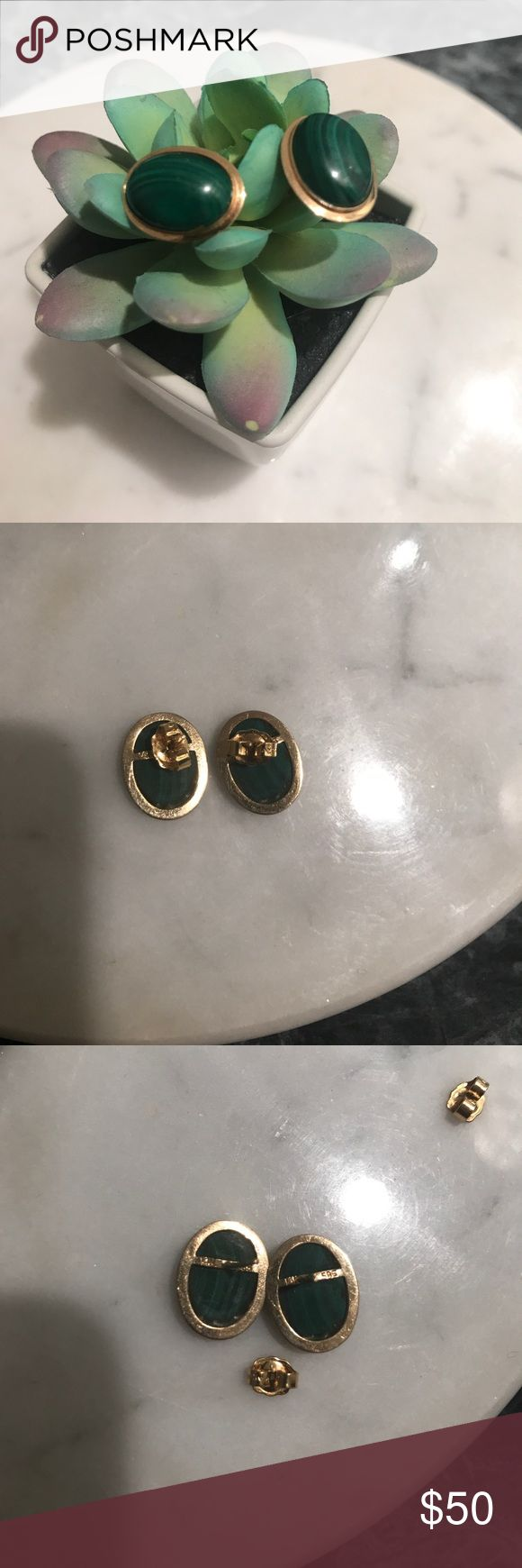 Vintage 14 karat gold earrings-Malachite stones  These are made by Avon, vintage 14 karat gold frame, stamped 585 14 K. I tried to capture in the photo but it was kind of hard getting that close. The green stone is genuine Malachite. Oval shape, stud post earrings. * Natural Stone * green * gold * antique * vintage * Avon Jewelry Earrings