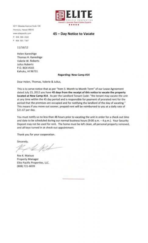 Notice To Vacate Letter From Landlord To Tenant   bravebtr - business letter examples