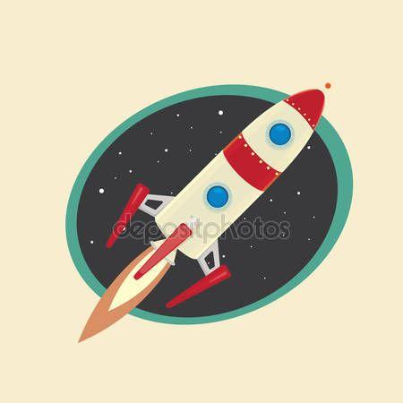 다운로드 - 우주 로켓의 빈티지 스타일 레트로 포스터 — 스톡 일러스트 #47325419