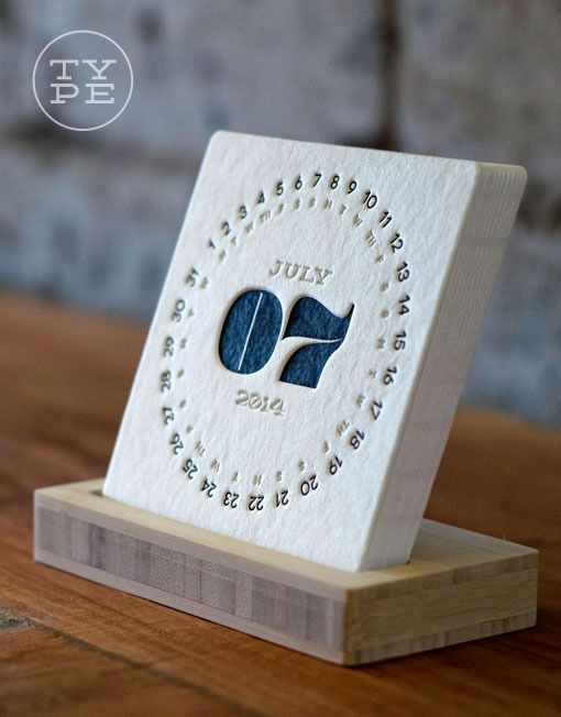 2014 Letterpress Desk Calendar coasters..  This is cool on many levels, its coasters with each day, we all love our cup of teas, energy drinks, glass of agua etc! We could throw one away each day passes! Again keeping the desk minimal, tidy plus creative!! :o) Holly