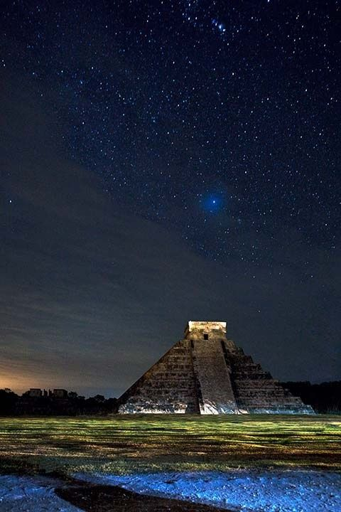 Starry sky over Chichen Itza, Mexico