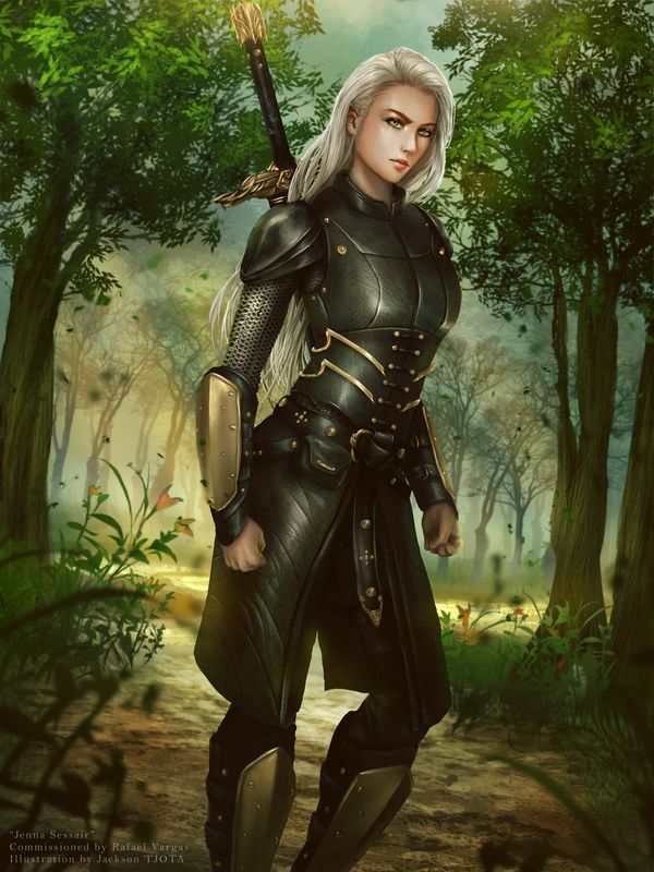 Jenna Sessair, Sister Warrior - Work for Rafael Vargas The first of a set of 12. From the author: Jenna is a 27-year-old warrior. Neutral Good. Legendary Leader/Tactician. At ...
