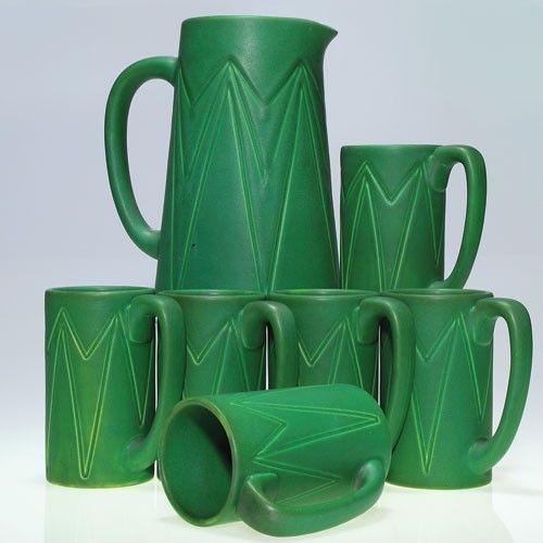 Rookwood 1905 Pitcher and 6 mugs, mat green glaze : Lot 734