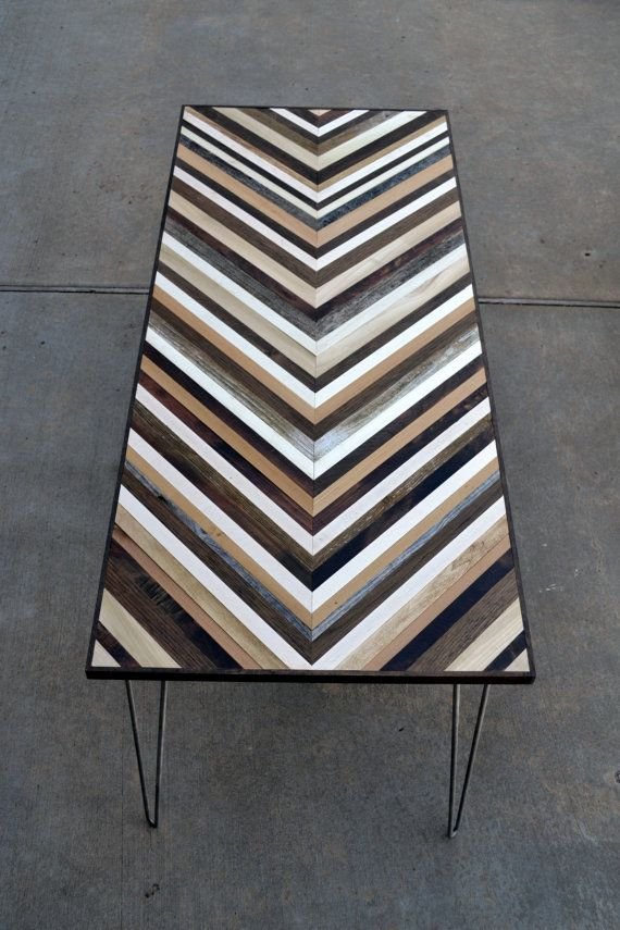 Chevron Desk with Hairpin legs  Wood Table  von moderntextures
