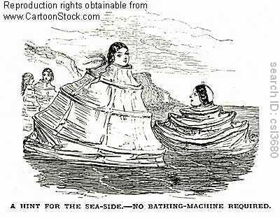 Ladies using thier cage crinolines as bathing machines
