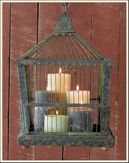 what to do with a bird cage- Great Idea!    Just bought several at ROSS to do just this on the breezeway.