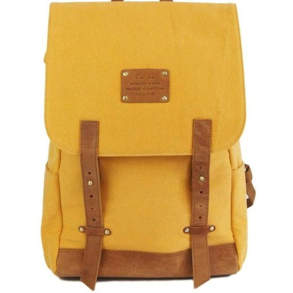 MAU S BACKPACK MUSTARD CANVAS/ ECO CAMEL ($195) ❤ liked on Polyvore featuring bags, backpacks, camel bag, rucksack bag, knapsack bags, canvas rucksack and yellow bag