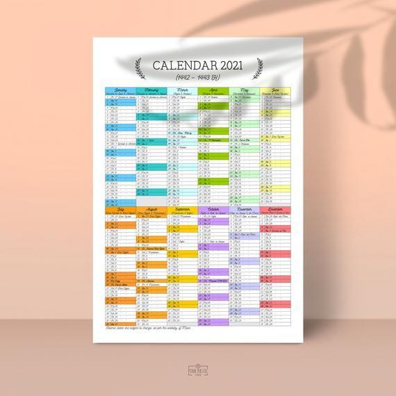 Islamic Calendar 2022 Usa.Hijri Printable Calendar 2021 1441 1442 Muslim Etsy Printable Calendar Calendar Wall Calendar