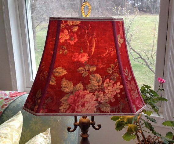 Red Lamp Shade French Lampshade Vintage Fabric by lampshadelady