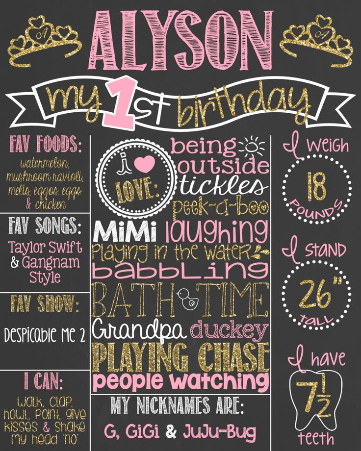 Pink and Gold Glitter First Birthday Chalkboard Poster // Girl 1st Birthday Chalk Board // Custom Printable // Boy or Girl // Princess Crown by PersonalizedChalk on Etsy https://www.etsy.com/listing/181016084/pink-and-gold-glitter-first-birthday