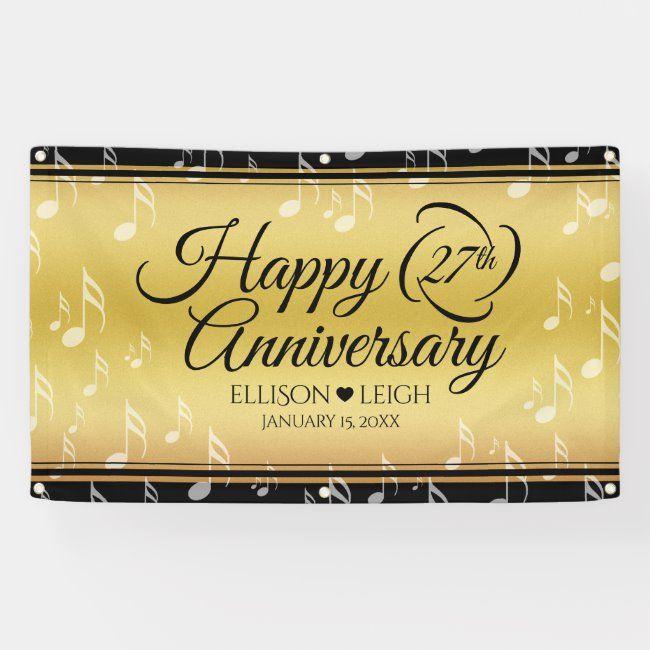 Elegant 27th Music Wedding Anniversary Banner Zazzle Com In 2020 Anniversary Banner Wedding Anniversary Wedding Anniversary Keepsake