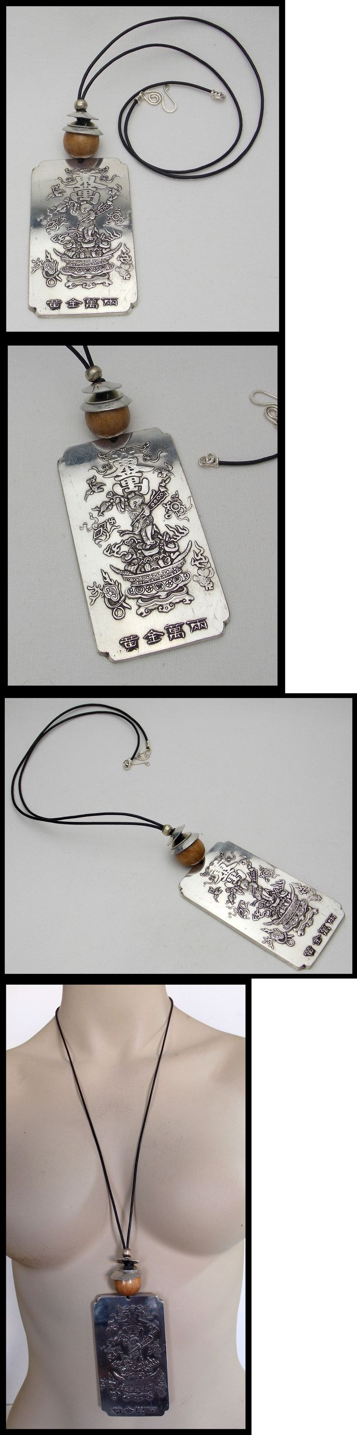 Necklaces and Pendants 98511: Old Chinese Miao Silver Amulet - Elegant Long Leather Necklace BUY IT NOW ONLY: $159.0