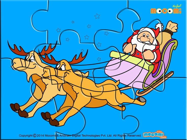 Download this free #SantaonhisSledge #puzzleforkids in #preschool, #kindergarden and early elementary. More such #jigsawpuzzlese article at http://mocomi.com/fun/arts-crafts/printables/jigsaw-puzzles/