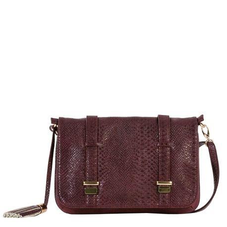 Postman bag with python print and soft leather.