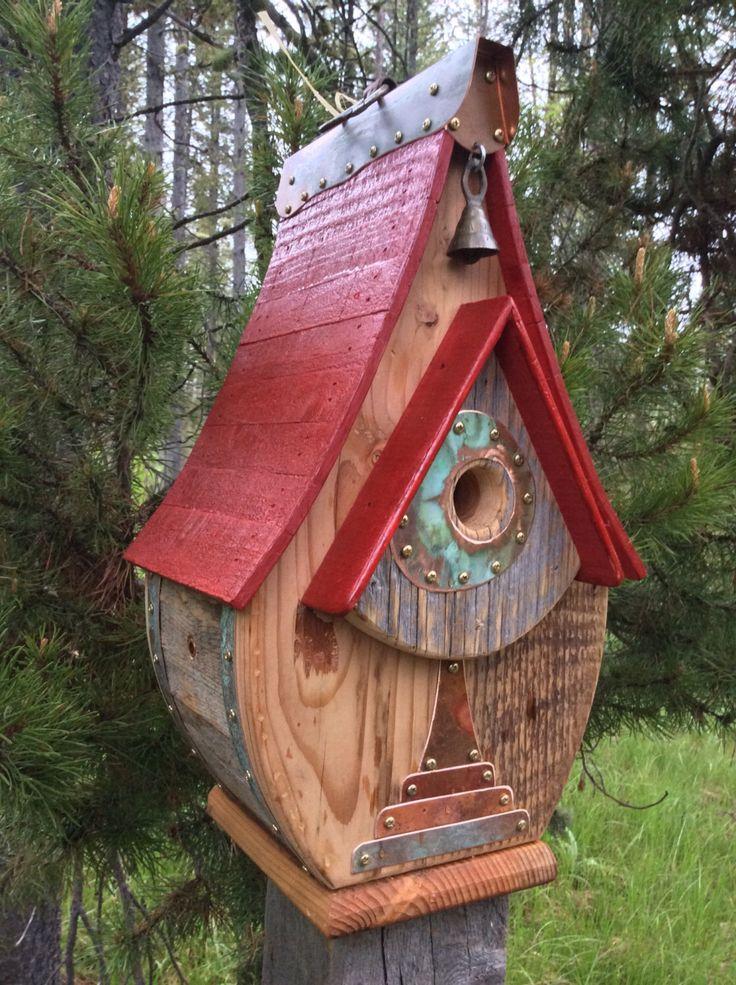 Unique Barnwood Copper Teardrop Birdhouse Birthday Wedding