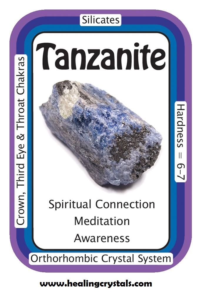 """Tanzanite, """"I can access inner wisdom and spiritual realms."""" Tanzanite increases communication with the Spiritual world and facilitates access to ancient wisdom, especially to the spiritual knowledge of ancient indigenous tribal cultures. Tanzanite opens the Crown Chakra to show visualizations of higher spiritual realms. Good for spiritual exploration and inner journeys Code HCPIN10 = 10% discount…"""