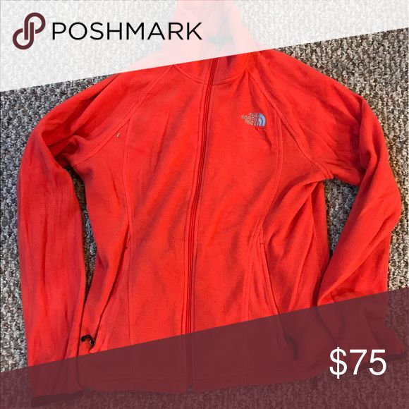 Orange/red North Face Jacket - size medium Color: Red/orange, size medium, good condition, only worn once The North Face Sweaters