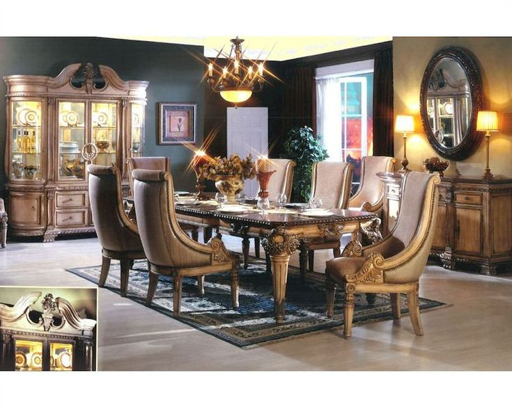 Furniture Design Dining Room Table Sets White Wash Finish 7 Pc St Charles I Collection Antique Wood