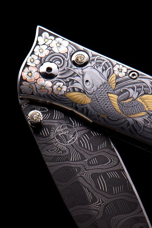 Hand Engraved William Henry Knife by Gert Mathys, 24K Gold, pure silver and copper inlay work.