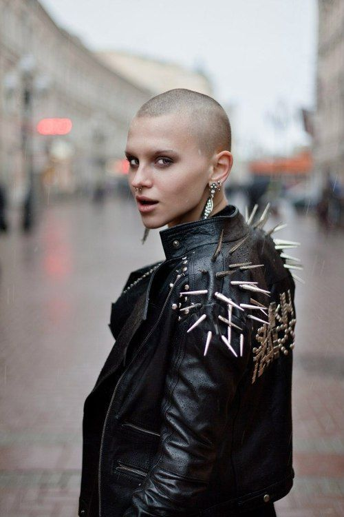 Spiked leather jacket, shaved head, very nice
