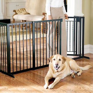 Our 34H Freestanding Pet Barrier with Walk-through Door provides a contemporary, stylish alternative to plain metal pet gates. This handsome pet product offers walk-through convenience for you, so you can place this pet gate anywhere in your home. Designed with a height to make even big dogs stay putHandcrafted of powdercoated tubular steelOil-rubbed bronze or antique white finishPet gates will mesh well with your home indoor decorWalk-through gate features auto close functionWalk-through…