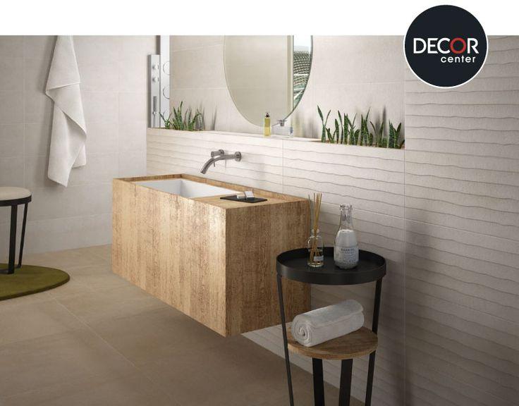 #Baño decorado con cerámicos Saloni modelo Blind Beige y Sunset Beige