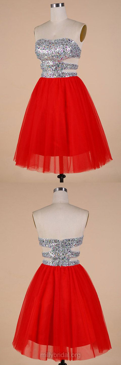 Girls Homecoming Dresses For Cheap,Sweetheart Red Party Gowns,Tulle Crystal Detailing Simple Cocktail Dress, Short/Mini Prom Dresses, Girls Graduation Dresses