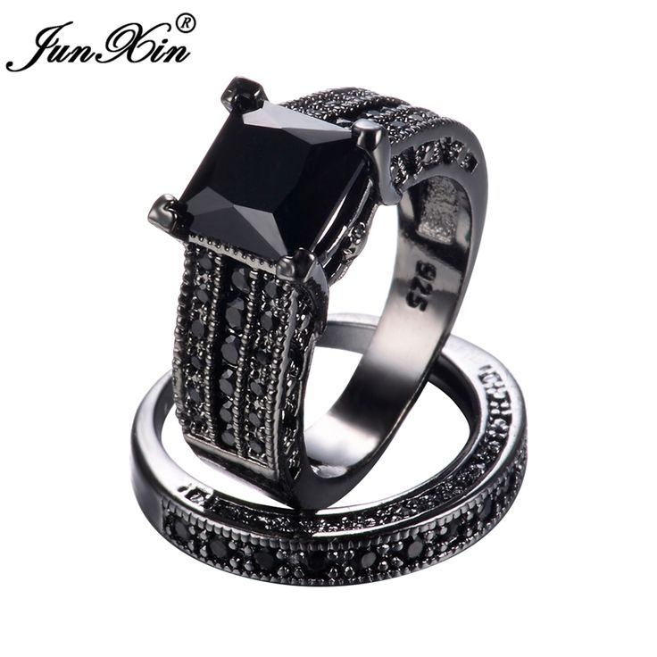JUNXIN Male Female Black Gold Ring Set 925 Sterling Silver Geometric Ring Vintage Wedding Rings For Men And Women Gifts