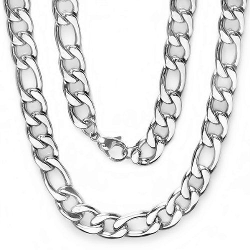 Stainless Steel Men's Platinum Plated Hip Hop Figaro Chain (10 MM Width x 36 Inch Length) DazzlingRock Collection. $21.99. Save 67% Off!